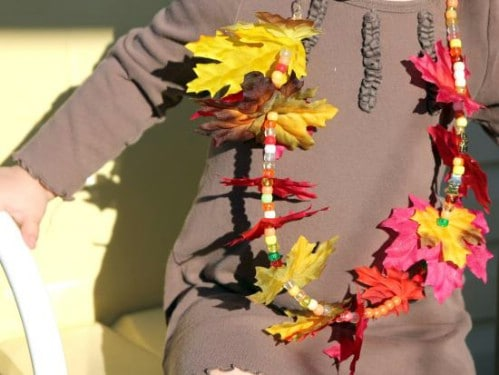 Autumn Leaf Necklace - 15 Fabulous Fall Leaf Crafts for Kids